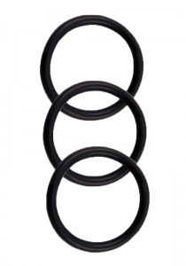 Perfect Fit Silicone 3 Ring Kit - Black - Front